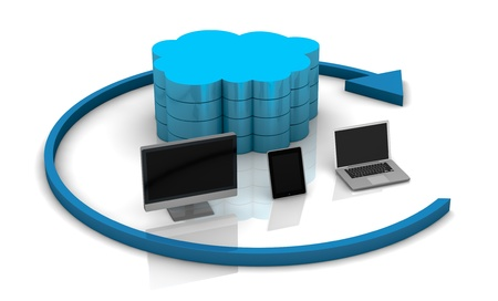 ordinateur de bureau: un ordinateur de bureau, Tablet PC et ordinateur portable connect� avec un stockage, le concept du cloud computing � distance (rendu 3D)
