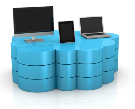 one desktop computer, tablet pc and notebook connected with a remote storage, concept of cloud computing (3d render) Stock Photo - 11505703