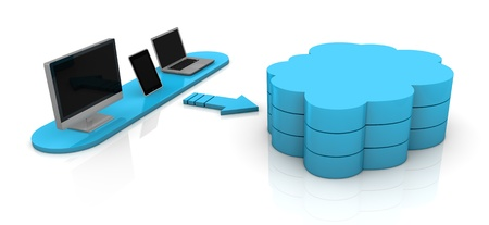 one desktop computer, tablet pc and notebook connected with a remote storage, concept of cloud computing (3d render) Stock Photo - 11505673