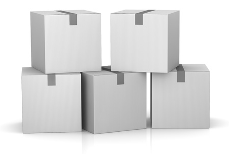 one stack of white card boxes (3d render) photo