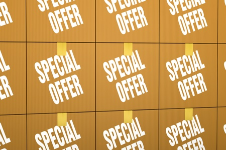 rebate: close up view of one stack of card boxes with the label: special offer (3d render) Stock Photo