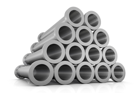 close up of one stack of steel tubes (3d render) photo