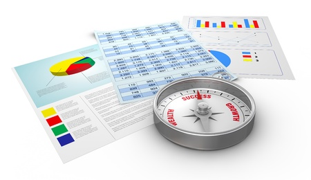 spreadsheets: some paper documents with financial data and a compass with the arrow pointing to the word: success (3d render) Stock Photo