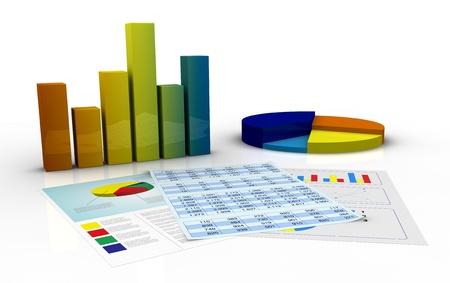 grafica de barras: de barras y gráficos circulares y documentos en papel con los datos de hoja de cálculo y financiera (3d)