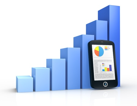 mobile marketing: one growing bar chart and a portable device with financial data (3d render)