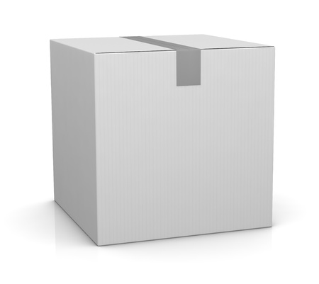 one closed carton box in white color (3d render) photo