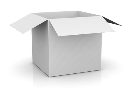 one open carton box in white color (3d render) photo