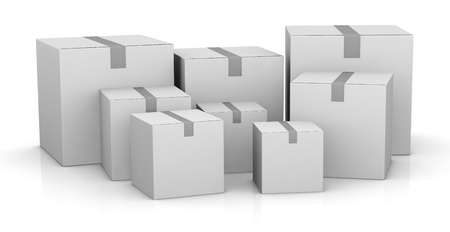 some carton boxes in different sizes (3d render) Stock Photo - 11505791