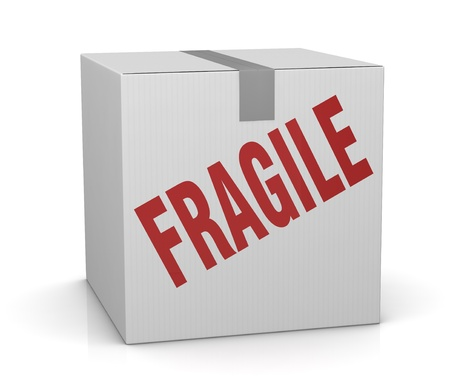 one carton box with the label: fragile (3d render) Stock Photo - 11505753