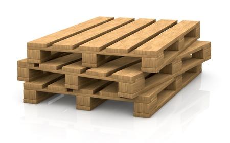 いくつかの木製パレットのビュー (3 d レンダリング)