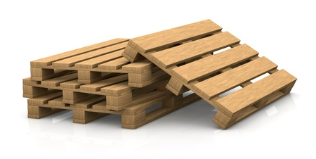 view of some wooden pallets (3d render) photo