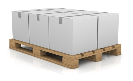 one pallet with some carton boxes over it (3d render) Stock Photo - 11505788