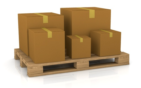 one pallet with some carton boxes over it (3d render) Stock Photo - 11505816