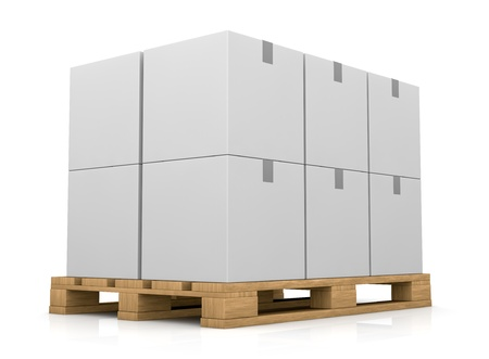 one pallet with some carton boxes over it (3d render) Stock Photo - 11505756