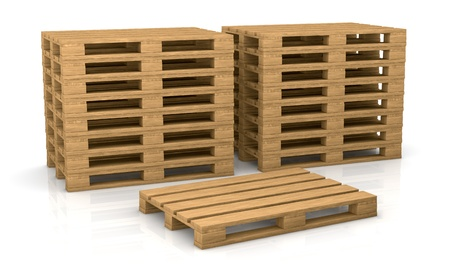 two piles of pallets with one in front of them (3d render) photo