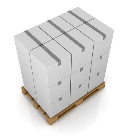 one pallet with some carton boxes over it (3d render) Stock Photo - 11505815