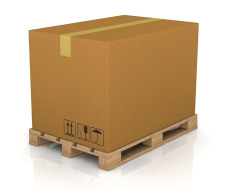 een pallet met een grote kartonnen doos (3d render) Stockfoto