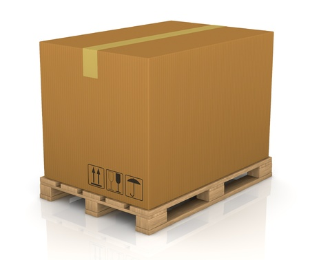 order shipment: one pallet with a big carton box (3d render)