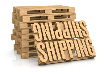 packaging industry: pallet made with the word: shipping (3d render) Stock Photo