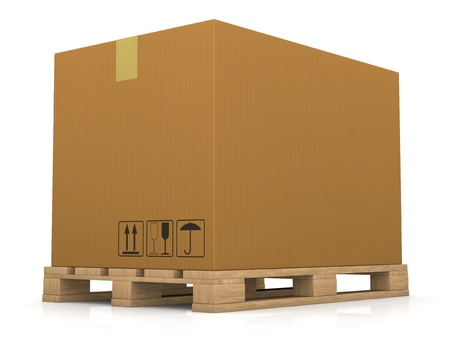 one pallet with a big carton box (3d render) photo