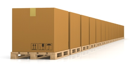 one row of pallet with carton boxes (3d render) photo