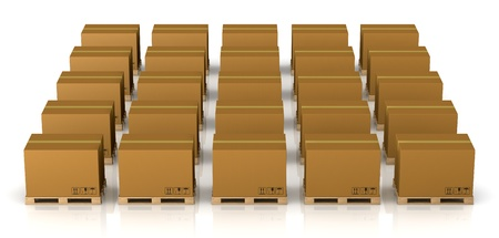 view of several rows of pallet with carton box over them (3d render) Stock Photo - 11505820