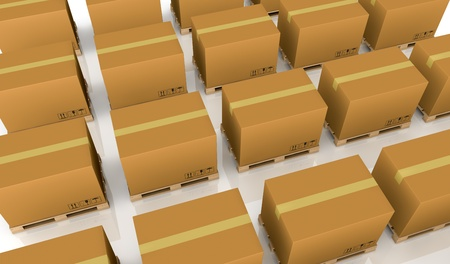 closeup of several rows of pallet with carton box over them (3d render) Stock Photo - 11505834