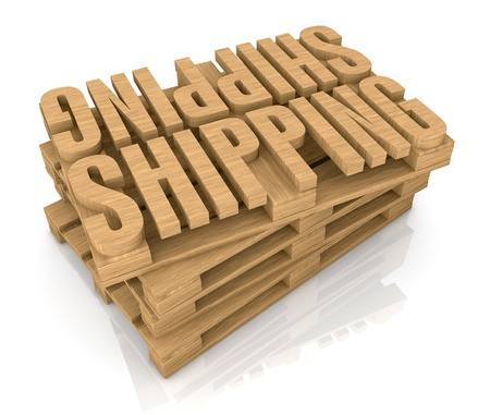 freight transportation: pallet made with the word: shipping (3d render) Stock Photo