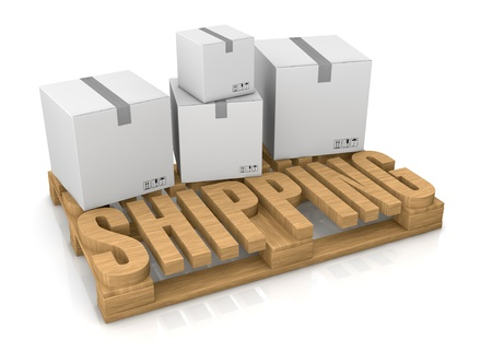 order shipping: pallet made with the word: shipping (3d render) Stock Photo