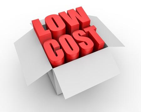 low price: una scatola di cartone con le parole: a basso costo in uscita (3D rendering)