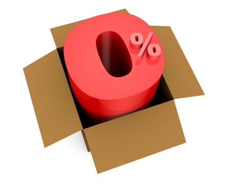one open carton box with the 0 percent rate number that comes out (3d render) photo