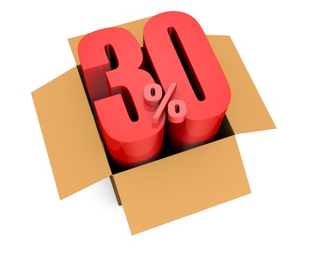 one open carton box with the 30 percent rate number that comes out (3d render) photo