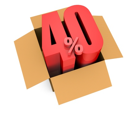 one open carton box with the 40 percent rate number that comes out (3d render) photo