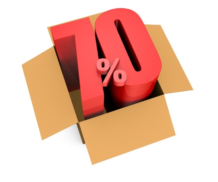 one open carton box with the 70 percent rate number that comes out (3d render) photo