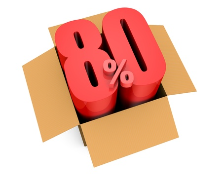 rebate: one open carton box with the 80 percent rate number that comes out (3d render) Stock Photo