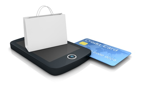 card payment: one mobile computer device with a shopping bag, concept of online shopping (3d render)