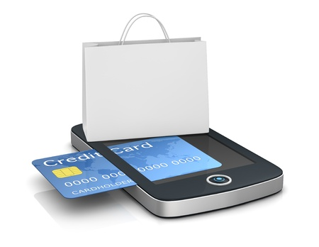 electronic transaction: one mobile computer device with a shopping bag, concept of online shopping (3d render)