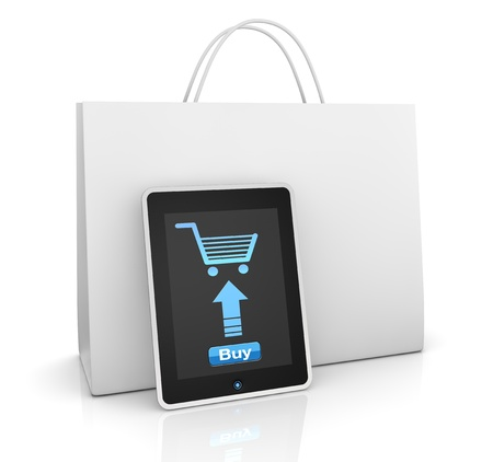 one mobile computer device with a shopping bag, concept of online shopping (3d render) Stock Photo - 11505759