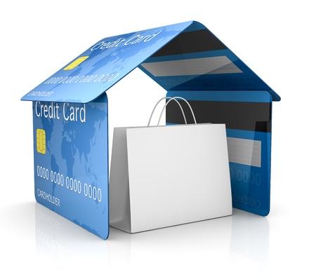 """Bank Światowy: jeden dom wykonany z karty kredytowej z torby na zakupy wewnÄ…trz niego koncepcji bezpieczeÅ""""stwa i ochrony (3d)"""