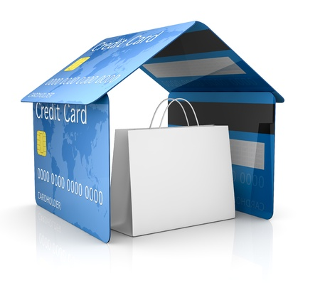 tarjeta visa: una casa hecha con tarjetas de crédito con una bolsa de compras en su interior, el concepto de seguridad y protección (3d) Foto de archivo