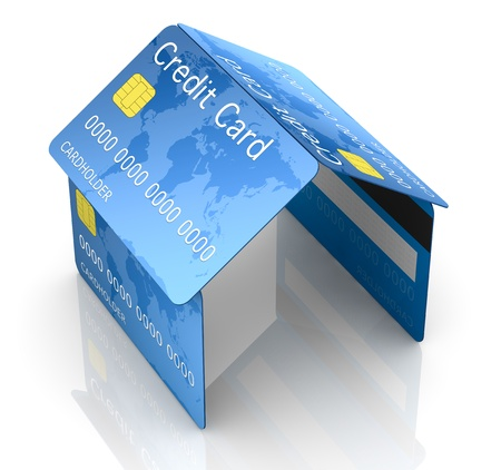 tarjeta visa: una casa hecha con tarjetas de crédito, el concepto de seguridad y protección (3d)