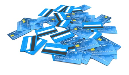 one pile of credit cards (3d render)  photo