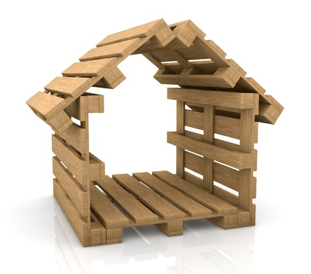 pallet: one house made with pallets, concept of secure shipping (3d render)