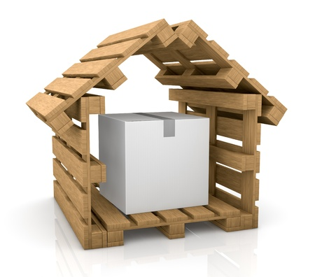 one house made with pallets and a carton box inside it, concept of secure shipping (3d render) Stock Photo - 11505833