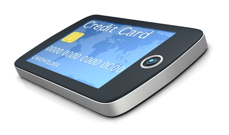 one mobile computer device with a credit card, concept of online shopping (3d render) photo
