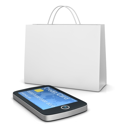 one mobile computer device with a shopping bag, concept of online shopping (3d render) photo