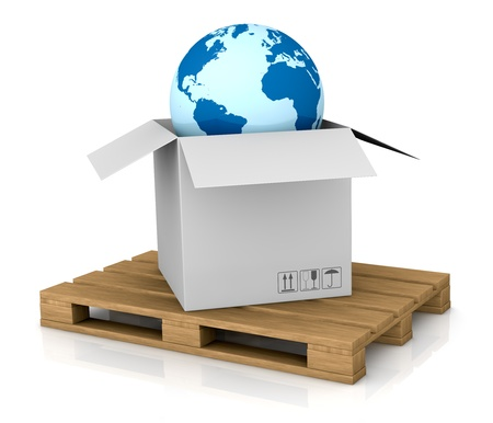 international shipping: one world globe coming out of a carton box; concept of shipping everywhere (3d render) Stock Photo