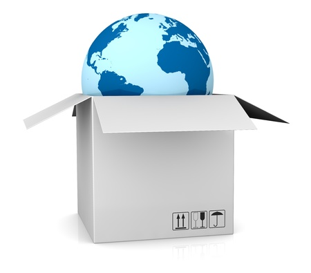 transport of goods: one world globe coming out of a carton box; concept of shipping everywhere (3d render) Stock Photo