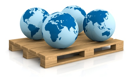 container freight: four world globes showing different areas on a pallet; concept of shipping everywhere (3d render)