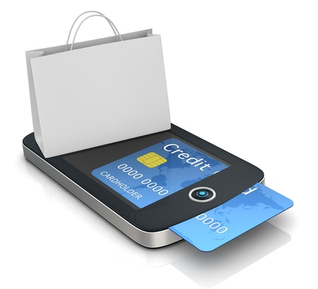 mobile banking: one mobile computer device with a shopping bag, concept of online shopping (3d render)